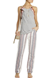 Chloé Ruffled striped washed-satin top