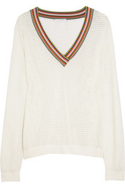 Chloé Stripe-trimmed open-knit cotton-blend sweater