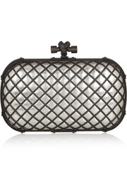 Bottega Veneta The Knot metallic leather and brass clutch