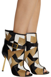 Sergio Rossi Medea patchwork calf hair ankle boots