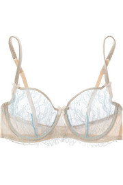 Banoffee Pie lace and stretch-silk underwired bra