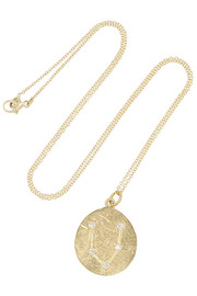 Pisces 14-karat gold diamond necklace