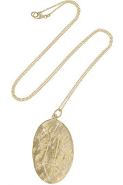 Leo 14-karat gold diamond necklace