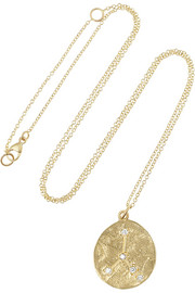Cancer 14-karat gold diamond necklace