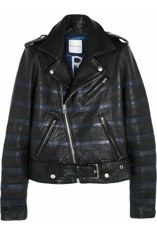 Black Striped Textured Leather Biker Jacket Each X Other Net A Porter