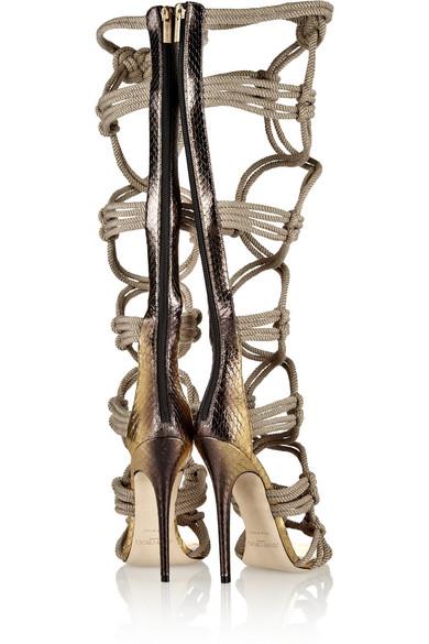 70dd5cfb8dcb Jimmy Choo. Keane metallic elaphe and rope gladiator sandals.  1