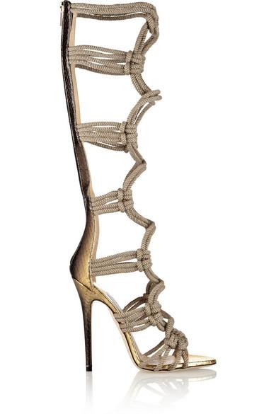 Purchase Jimmy Choo Sandals - Au En Product 429939 Jimmy Choo Keane Metallic Elaphe And Rope Gladiator Sandals