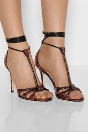 Jimmy ChooMotive elaphe and leather T-bar sandals