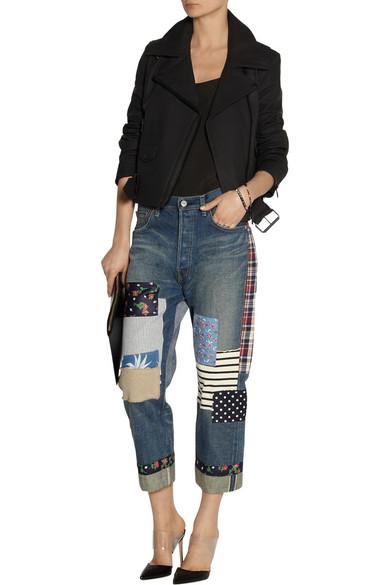 Junya Watanabe | Patchwork cropped boyfriend jeans | NET-A-PORTER.COM