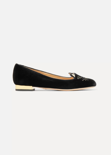 Kitty Embroidered Patent Leather-trimmed Velvet Pumps - IT38.5 Charlotte Olympia g0UUdmS