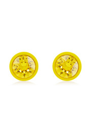 Yellow lacquered metal and crystal small earrings