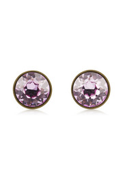 Small round earrings in lacquered pewter and purple crystal