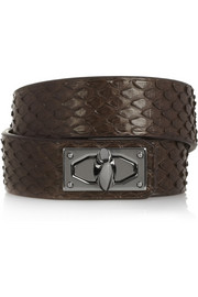 Givenchy Shark Lock bracelet in python and gunmetal-tone brass