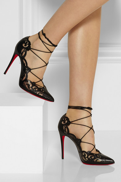 Christian Louboutin Impera Laser Cut Leather And Pvc