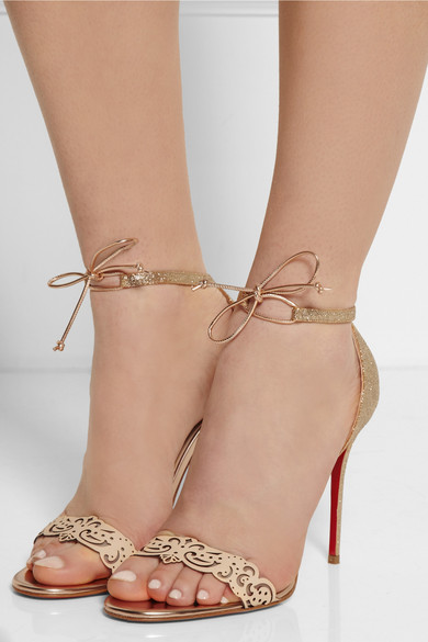 a740ff405811 Christian Louboutin. Valnina 100 glitter-finished and leather sandals