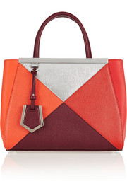 Fendi 2Jours small color-block textured-leather tote