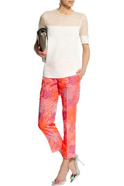 J.Crew Collection neon floral-jacquard straight-leg pants