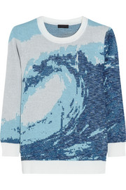 J.Crew Wave-intarsia metallic cotton-blend sweater