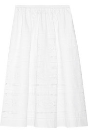 J.Crew Collection laser-cut poplin midi skirt