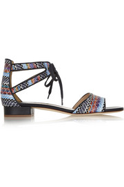 J.Crew Leather-trimmed faux raffia sandals