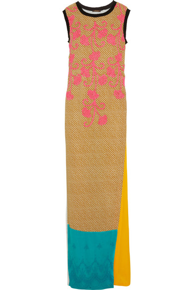 Sale alerts for Embroidered crepe and jersey maxi dress Vineet Bahl - Covvet