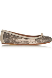 Teju snake-print leather ballet flats