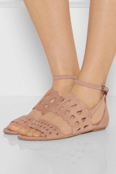 Alaïa Suede Laser Cut Sandals cheap sale sneakernews RI7JLz4