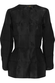 Fendi Collarless silk-gazar jacket