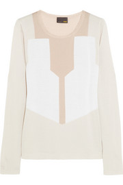 Fendi Color-block cashmere and silk-blend sweater