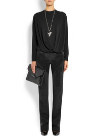 Givenchy Black silk-cady pants with satin details