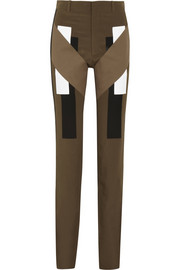 Givenchy Silk crepe de chine pants in army-green with cotton and silk-satin panels