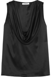 Draped silk-satin top