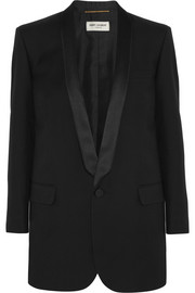 Saint Laurent Satin-trimmed wool-gabardine tuxedo jacket