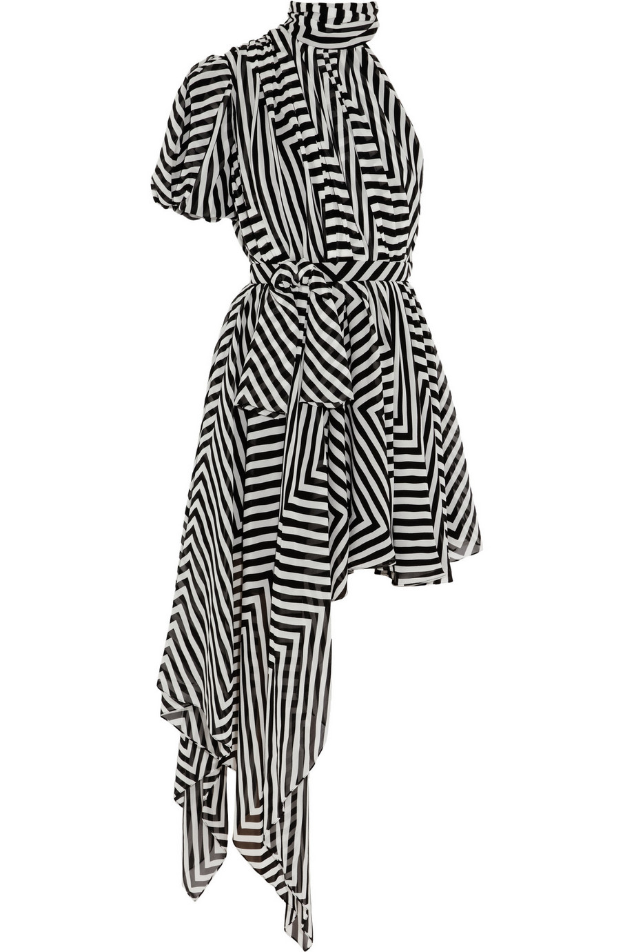 Black and white striped silk-georgette Pleated, bow, asymmetric draped side, partially lined Concealed hook, snap and zip fastening at side 100% silk Dry clean