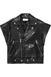 Sleeveless leather biker jacket