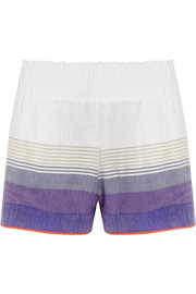 LemLem Bezez striped cotton-blend gauze shorts