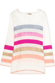 Gola striped cotton-blend gauze hooded top