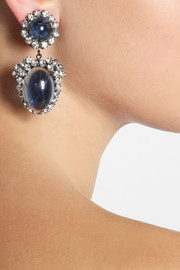 Kenneth Jay LaneRhodium-plated Swarovski crystal clip earrings