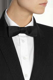Saint Laurent Silk-satin and leather bow tie
