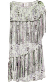 Anna Sui Printed metallic silk-blend chiffon mini dress