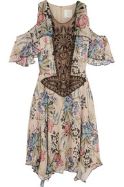 Anna Sui Floral-print silk-chiffon and embellished tulle mini dress