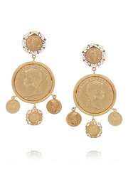Dolce & Gabbana Gold-tone coin clip earrings