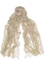 Valentino Lace and wool-blend scarf