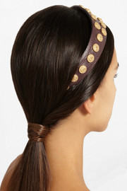 Valentino Embellished textured-leather headband