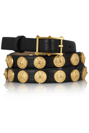 Etno embellished textured-leather belt