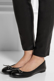 Saint Laurent Bow-embellished leather ballet flats