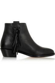 Fringed textured-leather ankle boots