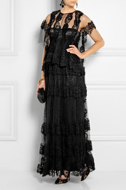 Dolce & Gabbana Crocheted lace-appliquéd net gown