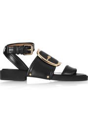 Oversized buckle sandals in black leather