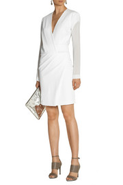 Dion Lee Leather-trimmed wrap-effect scuba-jersey dress